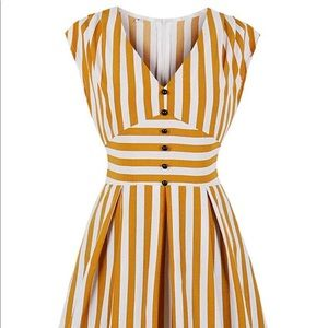 NWOT Yellow and White Striped Vintage Style Dress